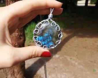 Labradorite Pendant Crystal Necklace, Birthstone