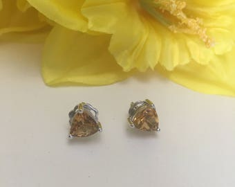Citrine, triangle stone earrings,trillion stud earrings