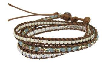 semi precious wrap bracelet with silver bead accents