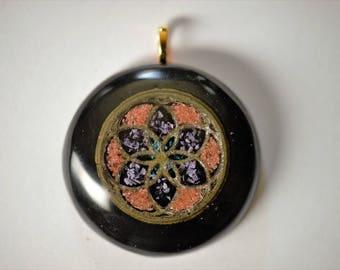 Seed Of Life Pendant: Silver Seed of Life, Amethyst, Chrysocolla, Goldstone, Black Tourmaline, Shungite