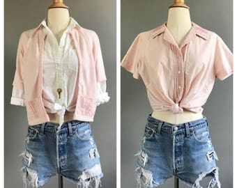 Vintage 1950's pink button down & cardi set