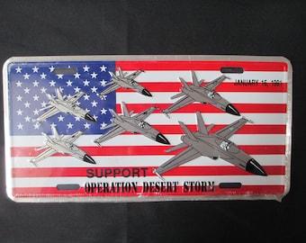 Vintage 1991 Desert Storm License Plate, Operation Desert Storm License Tag, Operation Desert Storm, Support Desert Storm