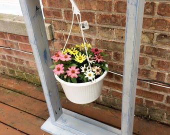 Hanging plant stand. Planter. Distressed planter.