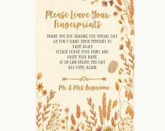 Autumn Leaves Fingerprint Guestbook Personalised Wedding Sign