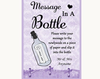 Lilac Shabby Chic Message In A Bottle Personalised Wedding Sign