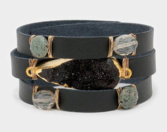 Druzy and Natural Stone Black Faux Leather Cuff Bracelet