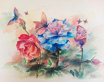 Roses, Flowers, Butterflies, Spring, 30x40 cm, Colorful Painting by MaryAlice