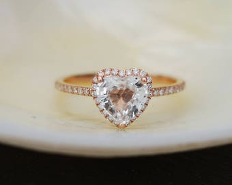 Heart engagement ring Rose gold engagement ring white sapphire ring promise ring anniversary ring by Eidelprecious Free shipping