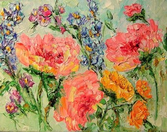 """Peonie painting oil original oil painting  5""""x7"""" canvas impressionism palette knife wild flowers abstract painting textured modern"""