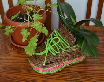 Wicker planter / Flowerpot / Wicker boot / Wicker plantpot / Cactus planter/Plant holder/Rustic planter/Key bowl/Plant stand/Farmhouse decor