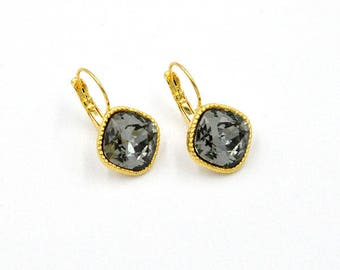 Cocktail earrings, Swarovski crystals, hanging earrings, yellow gold, Black Diamond, earrings, earrings, nickel free, handmade jewelry