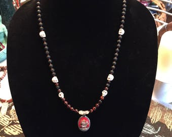 Kali Ma Devotional Necklace: Pumice Stone and Howlite Skull Beads
