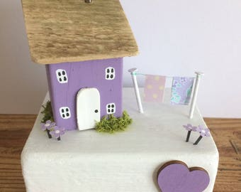 Handmade Miniature wooden cottage/house, collectable, gift, shabby, home, unique.