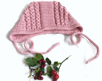 Hand knitted Cotton Bonnet  Dusky Pink Knit Hat Modern Design Baby Bonnet Hat for baby girl Dusky Pink Newborn  Baby Bonnet 0-3 month old