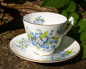 Staffordshire Fine Bone China Forget Me Not Teacup and Saucer Set Vintage