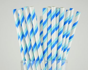 Blue/Light Blue Striped Paper Straws - Party Decor Supply - Cake Pop Sticks - Party Favor
