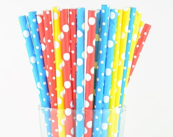 Polka Dots Mix Paper Straws - Blue/ Yellow/ Red - Party Decor Supply - Cake Pop Sticks - Party Favor