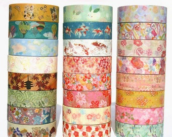 Set of 24 Rolls Japanese Washi Tape Collection - 15mm x 5m - Gift Wrapping - Decorative Tape - Scrapbooking Sticker