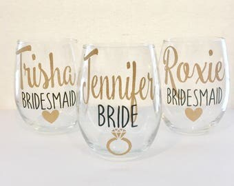 Set of 10+ Bridal Party Wine Glasses | Personalized Bridesmaid Wine Glasses | Custom Wine Glass | Bridal Party Gifts | Bridesmaid Gift