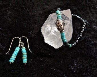 Buddha Turquoise Earrings and Bracelet