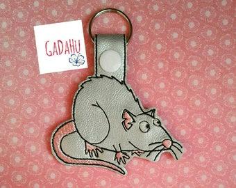 Cute rat Key Fob Snap Tab Embroidery Design 4X4 size. Animal Key fob