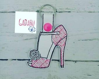 Woman High Heel Shoe Key Fob Snap Tab Embroidery Design 4X4 size. Women's shoes Key chain Digital design