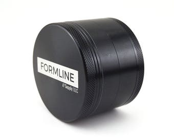 Herb Grinder - Large 4 Piece (2.5 inch) with Pollen Catcher by Formline Supply - Premium Black Anodized Aluminum with Sharp Curved Teeth