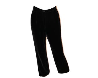 Vintage 90's Ann Taylor Black Velvet Pants, High Waisted Velvet Pants