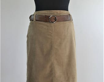 RIANI Vintage Velvet Pencil Knee Length Skirt Corduroy Brown Skirt High Waisted waist 32  skirt genuine leather belt