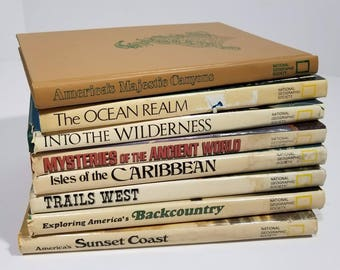 Lot of 8 National Geographic Society Hardcover Ocean Nature Outdoors Canyons