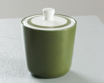 Vintage Mikasa Green Sugar Holder with Lid 70s
