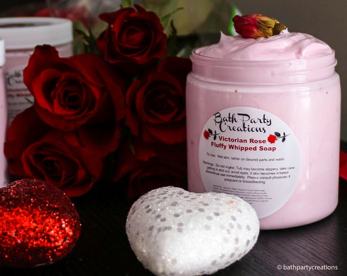 Victorian Rose Fluffy Whipped Soap, perfect Valentine's Day Gift, Shower Soap, Soap Frosting, Whipped Soap, Shaving Cream, Hand Soap,