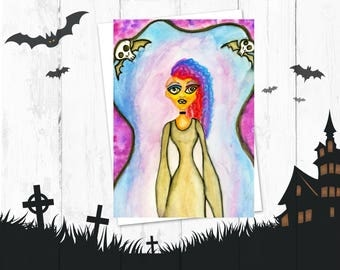 Goth Girl Postcard - Art Print - Craft Supply  - Fine Art Print - Watercolor Postcards - Illustration - Watercolor Painting - Thank You Card