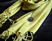 Plant-dyed handwoven silk scarf, diamond twill silk scarf, diamond weave fabric, Viking clothing, Vendel clothing