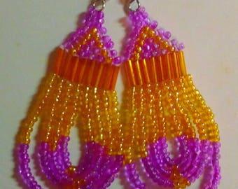 Orange and pink beaded earrings