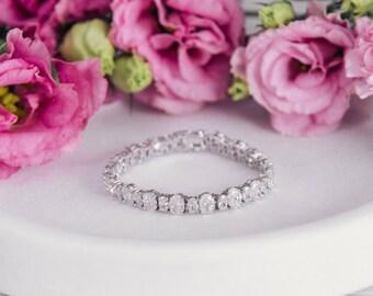 Ava Crystal Cut Bridal Wedding Bracelet