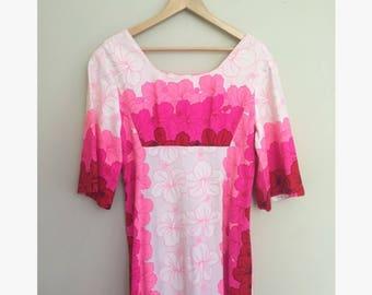 Vintage Hawaiian Floral Muumuu Maxi Dress