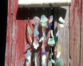Sea Glass Shell Wind Chime beach Birch Handmade windchime