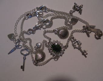 sterling silver charms bracelet with natural opal
