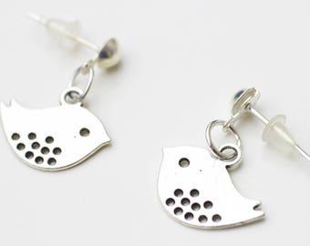 Earrings silvery bird chips