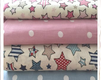 Fat Quarter Bundles FQ Bundle deals, Stars and Polka Dots 100% Cotton crafting Quilting Fabric Material