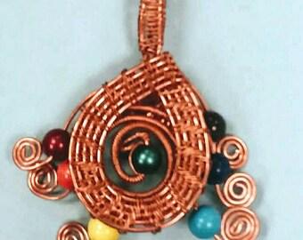 Copper Wire Wrapped Chakra Pendant