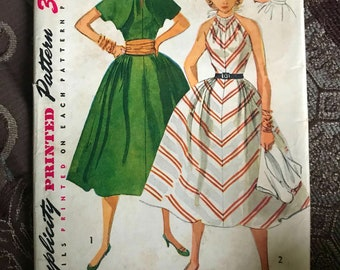 1950's Vintage Simplicity Pattern 4291 Halter Dress