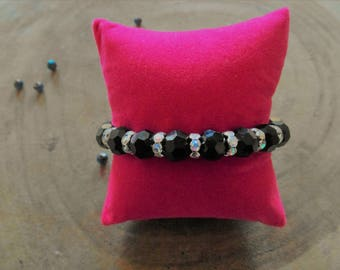 Black faceted beads with Rhinestones