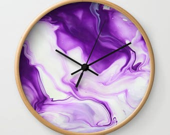 Wall Clock, Original Art Print Clock, Interior - Purple Smoke. Custom Order, Pre Order