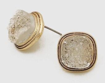 Gold & Silver Druzy Stone Stud Earrings, Clear Natural Quartz Earrings