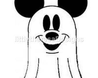 Mickey Halloween Ghost Iron On Transfer