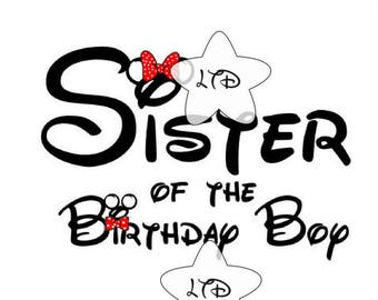 Sister Of The Birthday Boy Iron On Transfer