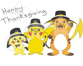 Pikachu Happy Thanksgiving Iron On Transfer