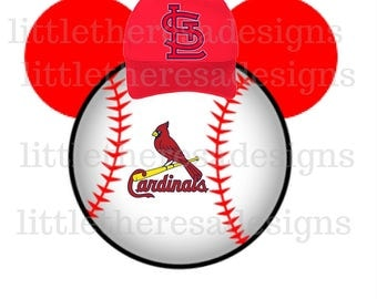 St.Louis Cardinals Mickey Head Digital Image,Digital Iron On,Diy